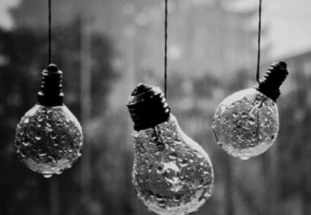 CONTRASTS - rain, photography, wp, bw, abstract, drops, bulbs