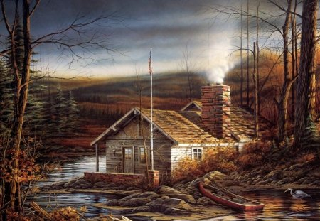 Cabin at the Lake - water, boat, house, painting, sun, forest, stones