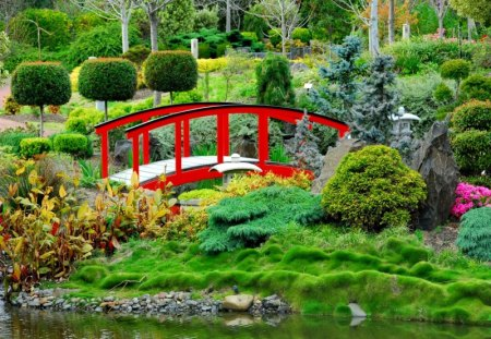 japanese garden - Red Japanese Garden Bridge