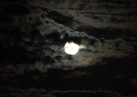 Cloudy Moon - clouds, blue moon, moon, sky, neil armstrong