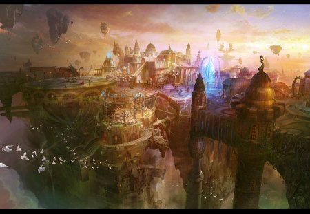 beautiful fantasy art - colorful, abstract, nature, art, city, fantasy, beauty, birds