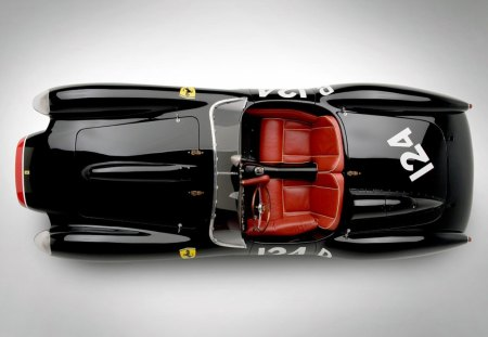1957 Ferrari 250 TR - race, ferrari, black, 1957, old, antique, classic, sports, vintage, red, 57, car