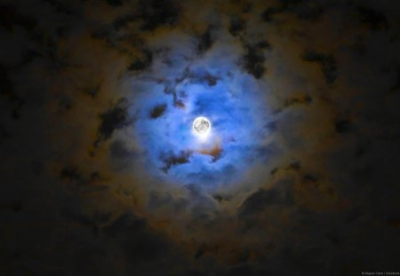 BRIGHT FULL MOON - clouds, sky, night, moon