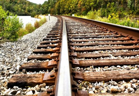 Railroad - railway, beautiful, road, train, closer, path, nice, grass, forest, stones, green, summer, railroad, trees, lovely, nature, bushes