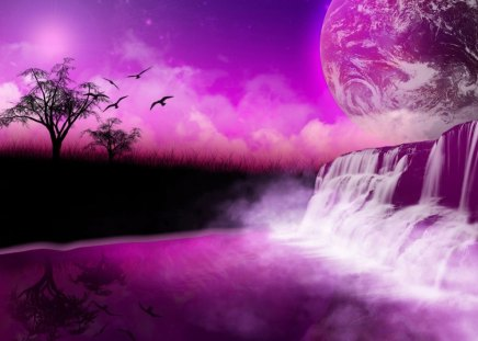 FANTASIA FALLS - trees, waterfalls, universe, sky, mist, planets, silouettes, birds, purple, earth, clouds, horizons, shadows