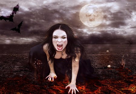 DEMON GIRL - evil, demon, dalissa, trash, vampire, female, girl, gothic, bat, moon, fire, slayer