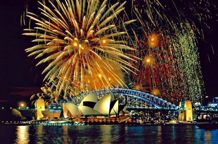 Sydney Harbor Australia at New Years Eve Night - digital, beautiful, abstract, art
