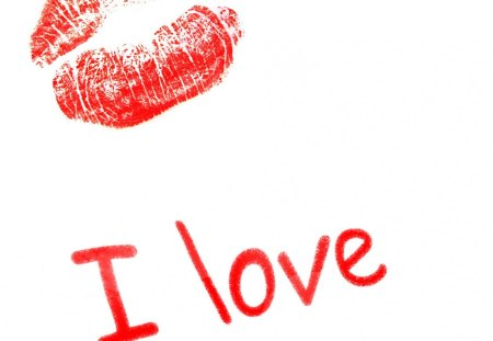 I ♥ kiss - text, i love, kiss, illustration