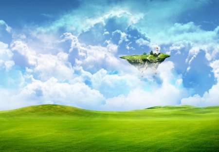 Floating Island - green, floating, cloud, island