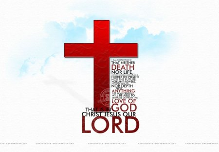 How much he loves us - his love, the cross, clouds, bible verse