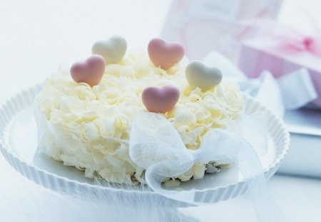 With love - heart, love, petals, cake, tasty, tenderness, sweets, ribbon