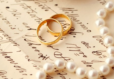 Rings and pearls - pearls, rings, necklace, love, letter