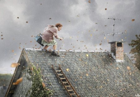 Stormy day - cloud, leaf, roof, autumn, old woman, funny, storm, house, wind, antenna