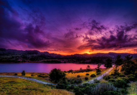 Amazing river sunset - lake, evening, amazing, beautiful, road, river, reflection, pretty, twilight, path, purple, nice, bveach, afternoon, lakeshore, sunset, grass, mountain, riverbank, rays, colorful, sky, shore, colors, lovely, light, clouds, sundown, nature, sun, dusk