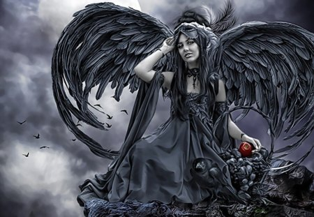 Dark Angel - dark, female, wings, evil, black wings, woman, angel, apple