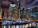chicago river at night hdr
