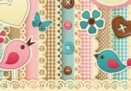 Birds and Buttons - lace, birds, aqua, turquoise, papillon, quilt, gingham, fabric, butterfly, buttons, sew, sewing, fleurs, pink, tan, seamstress, pastel, plaid, brown, butterflies, quilting, flowers