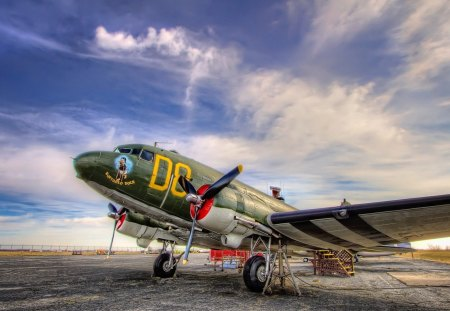 DC3 dakota the greatest plane ever made hdr - clouds, airfield, old, plane, hdr