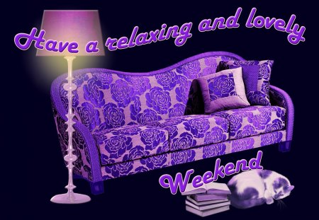 ♥      Relaxing Weekend To All Of You      ♥ - wishes, relaxing weekend, books, weekend, lamp, purple, weekend wishes, cat, couch