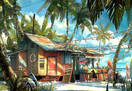 Bar at the beach - nature, palm trees, beach, bar