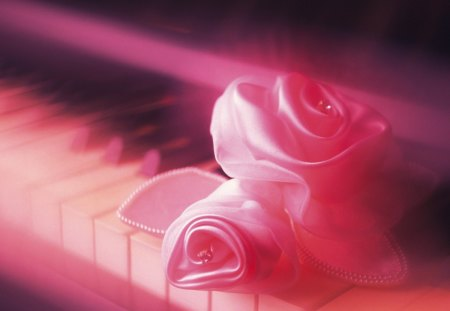 Tender rose - piano, rose, pink, keys, tender