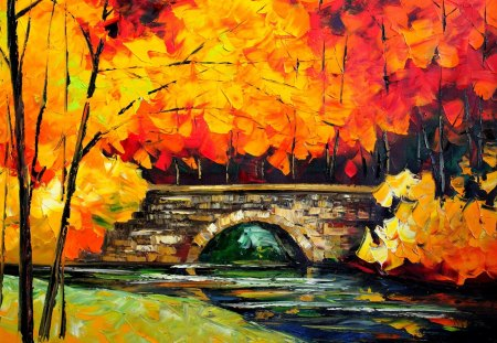 Autumn Painting - leaves, trees, artwork, bridge, river, nature