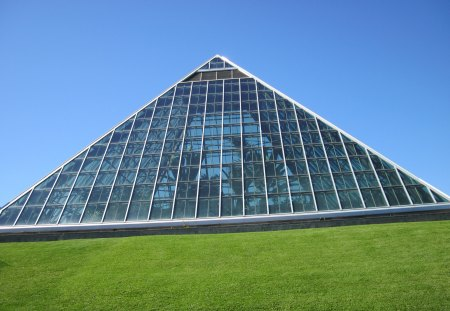The pyramid of Edmonton Alberta - green, Photography, Monuments, sky, glass, blue, grass, pyramid