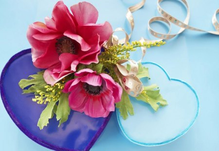 HEARTS A-BLOOM - flowers, blue, blooms, turquoise, reds, valentine, purple, fantasy, love