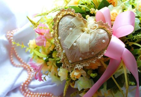 Vintage  heart - green, flowers, delicate, pearls, pink, ribbon, heart, yellow, still life, roses, lace, vintage, nature