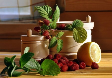 RASPBERRY CHARM - kitchens, citrus, windows, herbs, lemons, leaves, fruit, utensils, raspberries