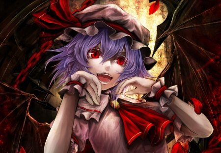 Violet hair vampire - violet, red, vampire, anime