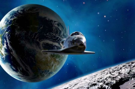 secret-shuttle-mission - moon, space, shuttle, planet