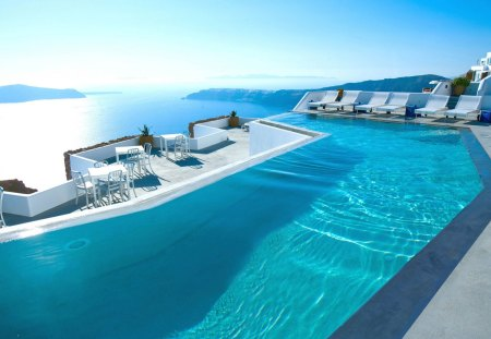 Santorini, Greece - chair, clouds, summer time, blue, peaceful, swimming pool, pool, nature, santorini, seascape, view, lovely, hotel, chairs, water, paradise, greece, holiday, beauty, summer, sea, island, reflac, swimming, beautiful, splendor, sky