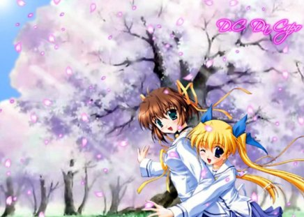 School Girls - school, blossoms, tree, girls, friends, uniform