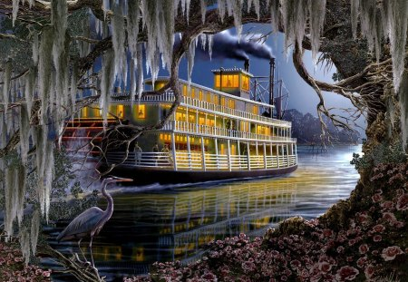 Mississippi Steamer - water, bird, river, ship, tree, steam