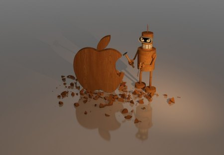 *** APPLE *** - technology, mean, apple, wooden