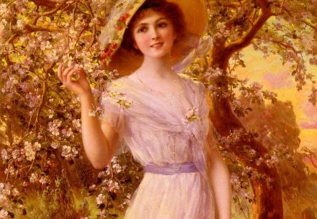 Pretty Carmen for carmenmbonilla - morning, lady, elegant, painting, carmen, autumn