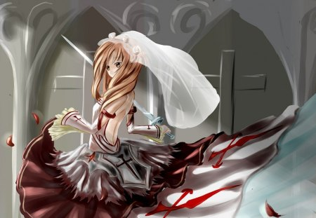 Yuki Asuna - The Blood Knight - sao, yuki, yuki asuna, blood, illustrasion, asuna, anime, sword art online