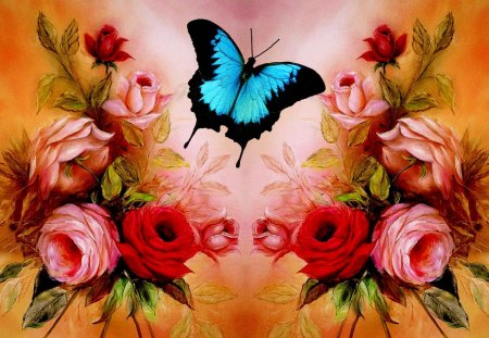 BUTTERFLY Roses - rose, flowers, beautiful, pink, cute, blue, pretty, butterfly, photoshop, red