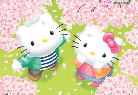 Hello Kitty Friends - kitty, cartoon, abstract, cute, japan, hello, gaphics, art, hello kitty