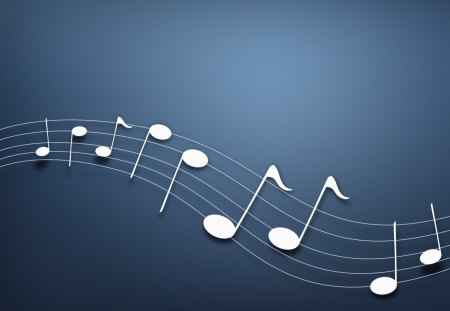Musical notes - blue, music, background, notes