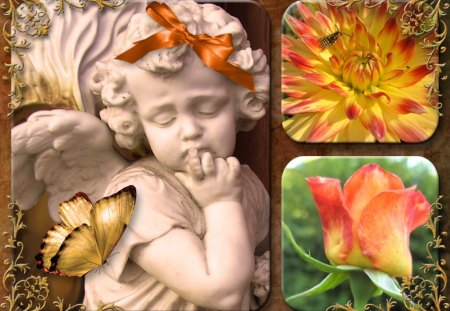♥     ღ~Flower Angel~ღ     ♥ - rose, flowers, garden, angel, collage, abstract, autumn, bow, butterfly, flower angel