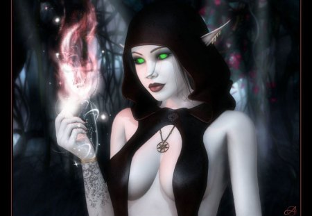 Elven Dark Magic - ears, black, magic, dark, elf, fire, spell, fantasy, pale skin