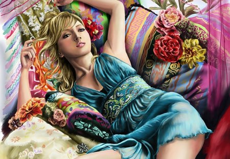 Dozing in Comfort - doze, colorful, blue, lazy, color, pillows, sleepin, nightgown, sleep, sleepy, dozing, blond
