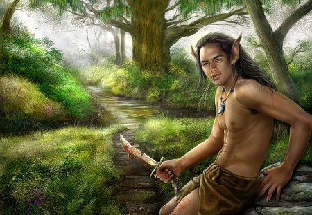 Elven Hunter - green, loin cloth, bare chested, male, hunter, knife, trees, hunt, man, elf, blood, forest, nature, fantasy, greenery