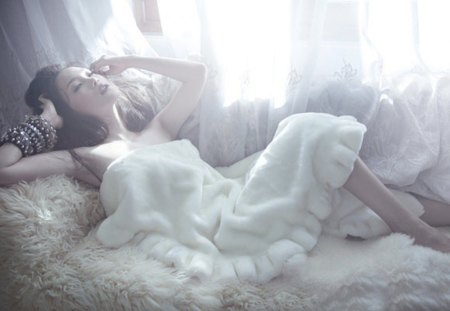 crisp morning - woman, pure, white, bed