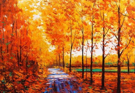 Autumn painting - painting, leaf, forest, fall, autumn, jungle