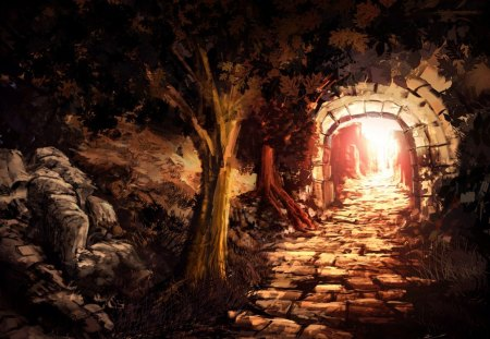 Painting - light, tunnel, painting, tree