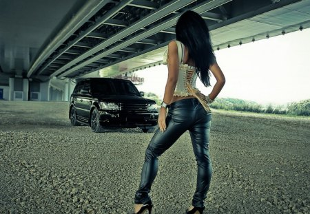 Truck under the bridge - cars, people, other, architecture, bridges, models female