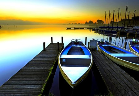 RESTING BOATS  at  SUNRISE - landscape, lake, sunrise, morning, pier, boat, boats